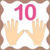 Liczy 10 dziesięć, edukacyjna karta, uczy się liczyć z palcami ilustracji