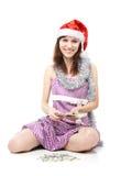 liczy dziewczyna pieniądze Santa Zdjęcie Stock