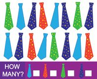 Liczy ile krawatów Matematycznie gra dla dzieci royalty ilustracja