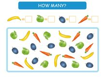 Liczy ile owoc i warzywo Pisze odpowiedziach Odliczająca gra dla Preschool dzieci również zwrócić corel ilustracji wektora ilustracja wektor