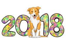Liczy 2018 od kolorowych stubarwnych jaskrawych okregów confetti i rysującego żółtego psa astrologicznego symbolu rok Zdjęcia Royalty Free
