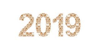 Liczy 2019 rok deseniujących z kwiecistymi kształtami, odosobnionymi na bielu 2019 dla dekoruje kalendarz, sztandar, plakat, zapr royalty ilustracja
