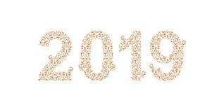 Liczy 2019 rok deseniujących z kwiecistymi kształtami, odosobnionymi na bielu 2019 dla dekoruje kalendarz, sztandar, plakat, zapr ilustracji