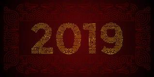 Liczy 2019 rok deseniujących z kwiecistymi kształtami, odosobnionymi na bielu 2019 dla dekoruje kalendarz, sztandar, plakat, zapr ilustracja wektor