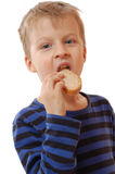 Lid eating bread Royalty Free Stock Images