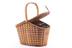 Lid-opened wicker basket Royalty Free Stock Image