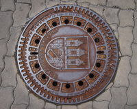 The lid of the water canal. With the inscription Prazske kanalizace (=Prague sewer). Common canal lid in Prague (Czech Republic stock photos