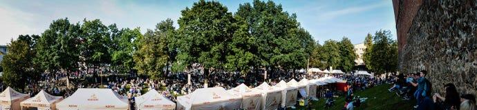 lida belarus Lida Castle Festival de la cerveza Imagen de archivo libre de regalías