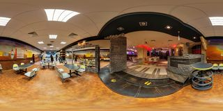 LIDA, BELARUS - MARCH 17, 2012: Panorama interior night bowling club. Full spherical 360 by 180 degrees seamless panorama in stock photo