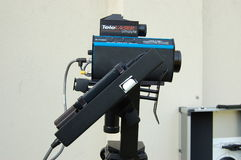 LIDAR speed gun. Is a device used by the police for speed limit enforcement which uses LIDAR to detect the speed of a vehicle. Unlike Radar speed guns, which Stock Images