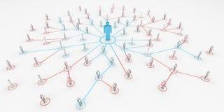 Lider łączy grupy ludzi 3D rendering Zdjęcia Stock