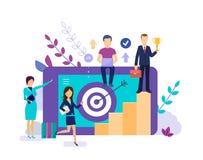 Lider biznesu starze się dla sukcesu, motywacji drużyna kariera przyrost ilustracja wektor