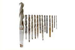 Lider grupa rocznika świderu kawałków metalu drewno Fotografia Stock