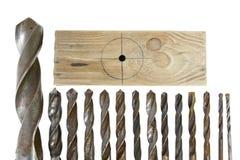 Lider grupa rocznika świderu kawałków metalu drewno Zdjęcie Stock