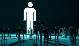 Lider iluminuje grupy ludzi 3D rendering ilustracji