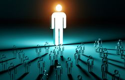 Lider iluminuje grupy ludzi 3D rendering royalty ilustracja