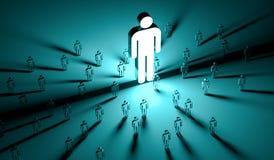 Lider iluminuje grupy ludzi 3D rendering ilustracja wektor