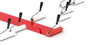 Lider rosso della spazzola del rullo. Fotografia Stock Libera da Diritti