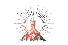Lider, sukces, strategia i kariery pojęcie, ręka patroszony wektor ilustracja wektor