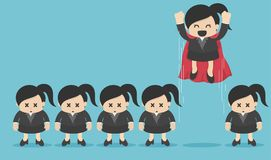 Lider wśród tłumu pojęcia bohater Biznesowa kobieta latać royalty ilustracja