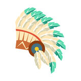 Lider Wojenna czapeczka Z piórkami, rodowity amerykanin kultury Indiański symbol, Etniczny przedmiot Od Północna Ameryka Odizolow royalty ilustracja