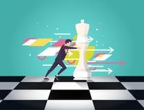 Lider wybiera najlepszy strategicznego sposób ruszać się szachy Wektorowa płaska ilustracja ilustracji