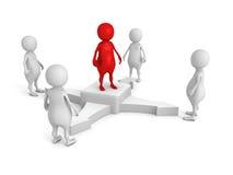 Lider zespołu w centrum biznesu 3d grupy ludzie ilustracji