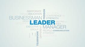 Lidera kierownika biznesmena osoby sukcesu przywódctwo oddziaływania szefa pracy zespołowej słowa chmury akcydensowy biznes animu royalty ilustracja