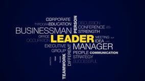 Lidera kierownika biznesmena osoby sukcesu przywódctwo oddziaływania szefa pracy zespołowej słowa chmury akcydensowy biznes animu zbiory