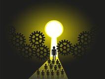 Lidera mentora wiodący tems w kierunku sukcesu drzwi Zdjęcie Stock