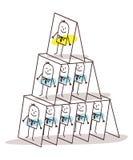 Liderança dos desenhos animados e pirâmide dos cartões Fotos de Stock