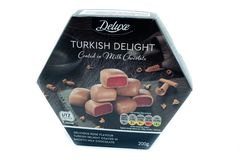 LIDL烙记了豪华土耳其快乐糖巧克力 库存照片