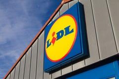 从LIDL超市连锁分支 库存照片