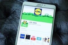 Lidl-ΠΟΔΗΛΑΤΟ κινητό app Στοκ φωτογραφίες με δικαίωμα ελεύθερης χρήσης