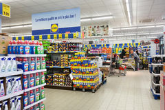 Lidl discount Supermarket. MALMEDY, BELGIUM - JULY 2015: Interior of a Lidl supermarket. stacks of different products. Lidl is a German discount chain, 9800 Royalty Free Stock Photos