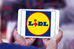 Lidl logo. Logo of the international chain of convenience stores lidl on samsung tablet Royalty Free Stock Photo
