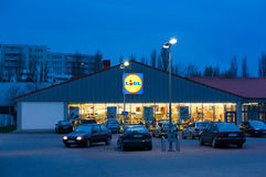 Lidl by night Stock Images