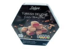 LIDL oznakować Luksusowe Tureckiego zachwyta czekolady zdjęcia stock