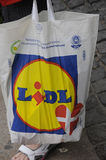 LIDL SHOPPERW THE LIDL SHOPPING BAG Stock Photo