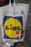 LIDL SHOPPERW LIDL torba na zakupy Zdjęcie Stock
