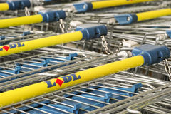 Lidl shopping carts. Shopping carts of the german discounter Lidl with copy space Royalty Free Stock Photography
