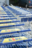 Lidl shopping carts Royalty Free Stock Photo