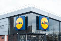 Lidl sign in store front. Mulhouse - France - 29 March 2018 - Lidl sign in store front - Lidl is the german leader of hard discount supermarket chain in France Royalty Free Stock Images