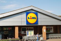 Lidl supermarket branch, England. Exterior of a branch of German supermarket chain Lidl at St.Leonards-on-Sea in East Sussex, England on May 23, 2018. The Royalty Free Stock Photos