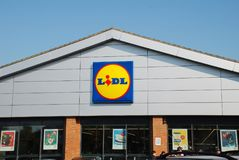 Lidl supermarket, England. Exterior of a branch of German supermarket chain Lidl at St.Leonards-on-Sea in East Sussex, England on May 23, 2018. The international Royalty Free Stock Photos