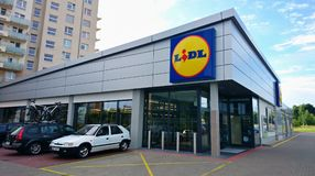 LIDL supermarket exterior. PRAGUE, CZECH REPUBLIC - JULY 24, 2017: Exterior view of the LIDL supermarket. LIDL is a German discount chain founded in 1973 by Stock Photo