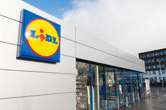 Lidl supermarket logo Stock Photo