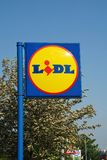 Lidl supermarket sign, Sussex. Signage outside a branch of German supermarket chain Lidl at St.Leonards-on-Sea in East Sussex, England on May 23, 2018. The Royalty Free Stock Image