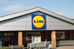 Lidl supermarketa gałąź, Anglia Zdjęcia Royalty Free
