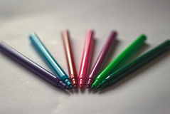 Lidless colored markers Royalty Free Stock Images